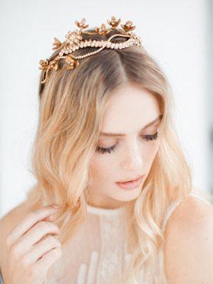【華麗復古】玫瑰金新娘頭飾