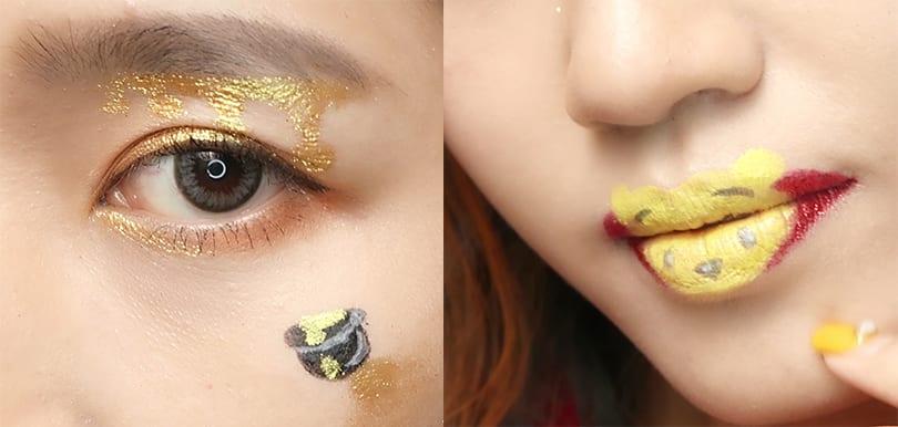 可愛萬聖節妝容!小熊維尼蜜糖眼妝+卡通唇妝