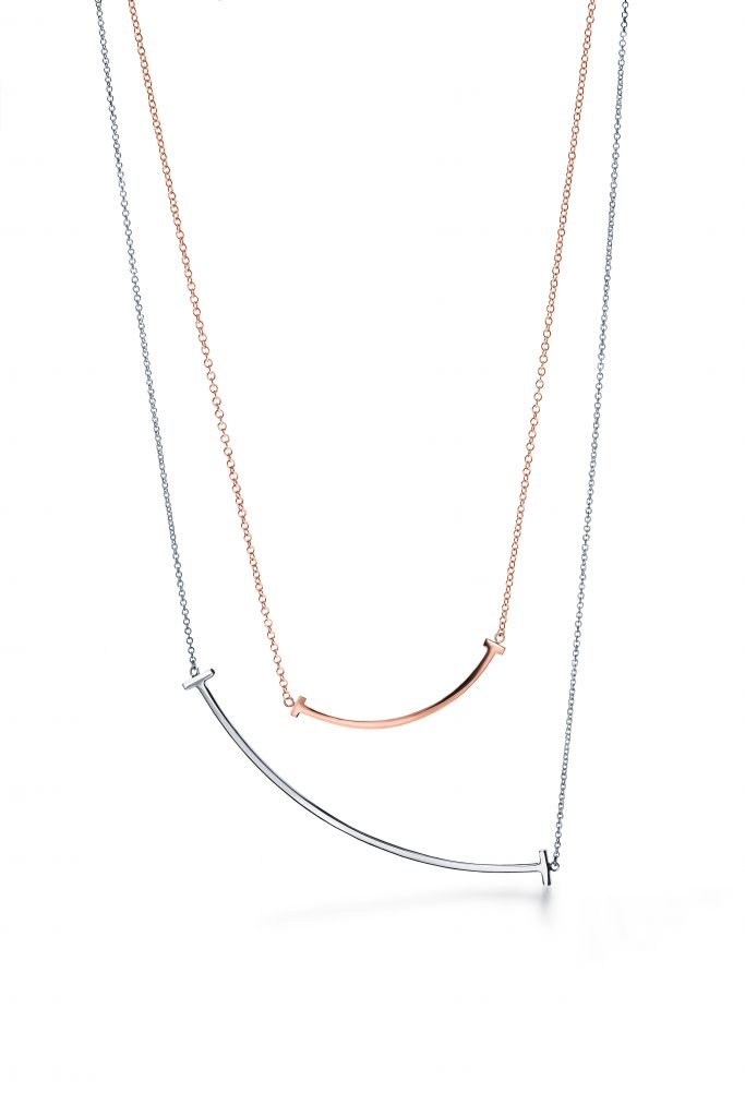 Tiffany T Smile Necklace itaewon-class 梨泰院 class Tiffany T 微笑頸鏈Tiffany T Smile Necklace in 18k rose gold_HKD 6,250 and Tiffany T Smile Necklace in 18k white gold_HKD 8,600