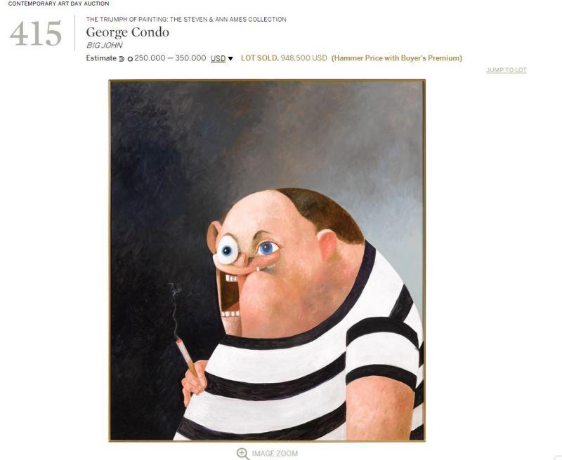 美國藝術家George Condo的作品BIG JOHN,G-Dragon高於市價以94萬美金購入。