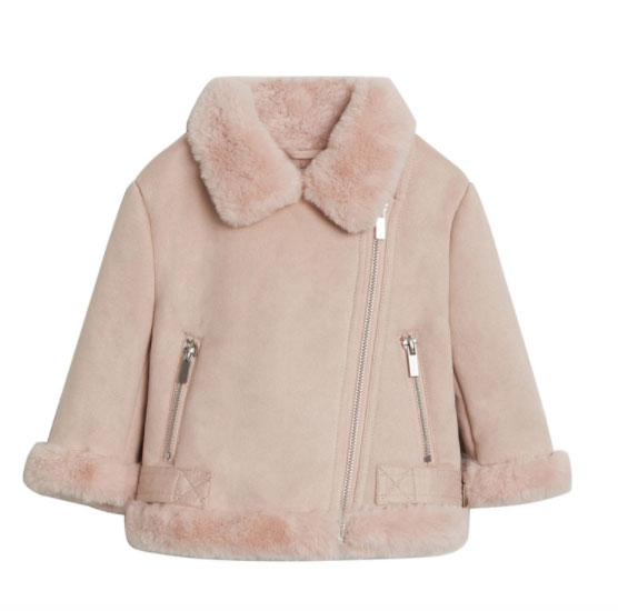 MANGO BABY 韓粉色毛毛外套 六七折後 HK$239