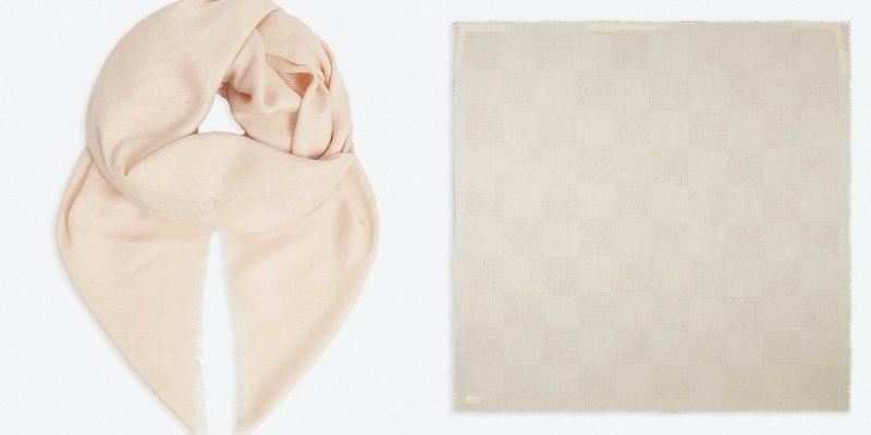 LOEWE Damero logo-print wool-blend scarf