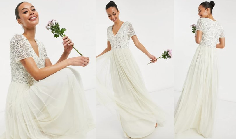 Maya Tall Bridal v neck maxi