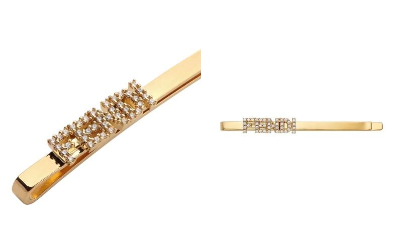 Fendi crystal-embellished logo hair clip HK$2,790