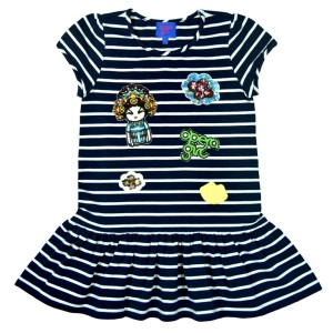 OPERA GIRL Badges Appliqué Navy-Striped Dress (Kid) HK$680