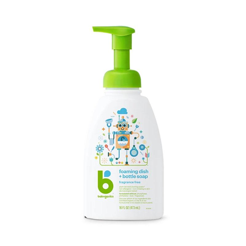 BABYGANICS 奶樽洗潔液 - 無香味 (HK$71.2 / 473ml),美國製造,適用於清洗任何碗碟及食具,使用時直接泵出細緻柔和的泡沫,節省時間及用水,過水容易,不殘留於表面,安全無毒,適用於清洗嬰兒奶樽。