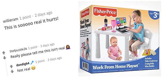 Fisher-Price推出Work From Home玩具組合?網民見後高呼:請告訴我不是真的!