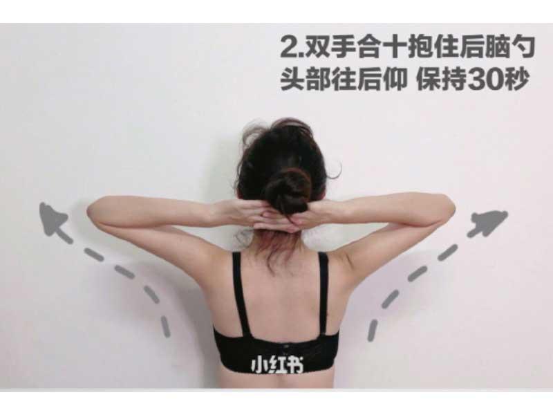 雙手手指交疊抱住後腦位置,頭部往後仰,維持30秒後放鬆,重複做5組。