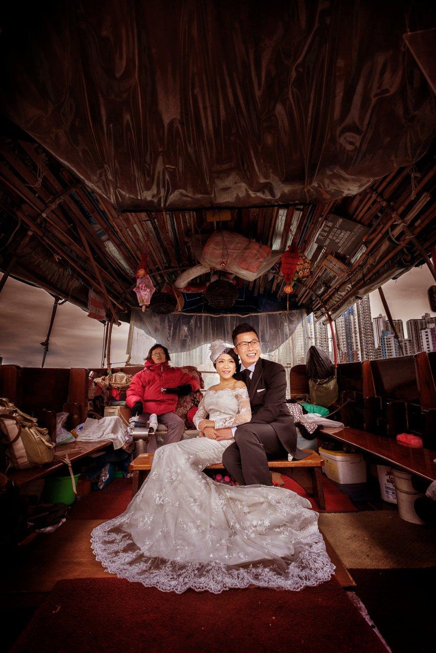 香港風華•舢舨上的婚照