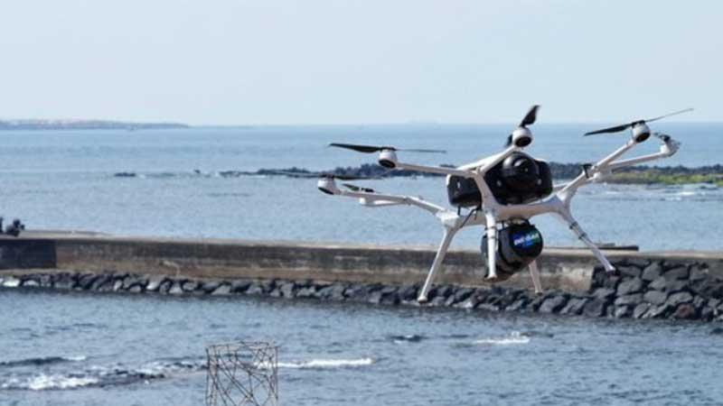 這次透過無人機運送口罩到附近島嶼的數量,便高達一萬五千多個