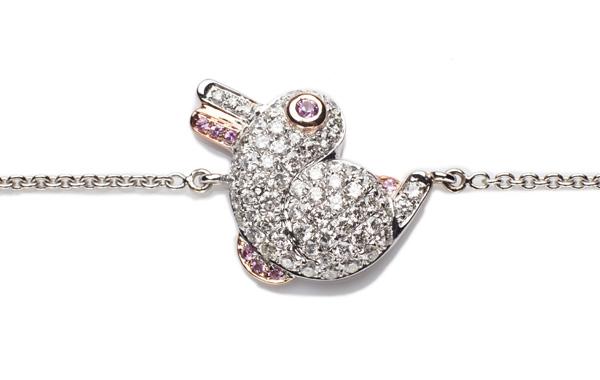 18K白金粉紅藍寶鑽石手鏈