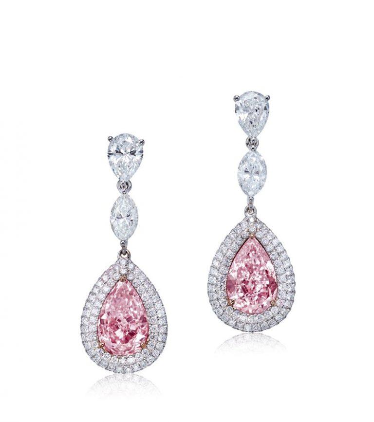 保利香港 2.61及2.06克拉淡彩粉色及淡彩紫粉色鑽石耳環
