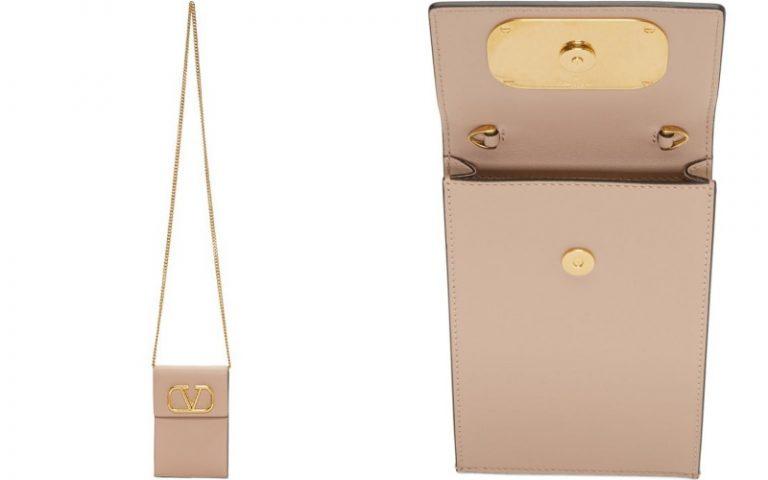 Pink Valentino Garavani VLogo Chain Phone Pouch